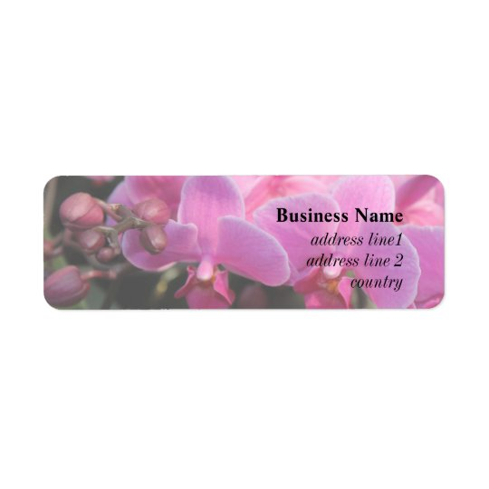 pretty pink orchid flowers return address label