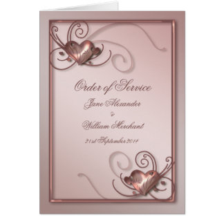 Pretty Pink Order of Service Wedding Program Card
