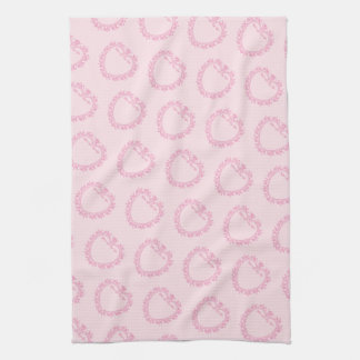 Pretty Pink Ornate Hearts Kitchen Towel