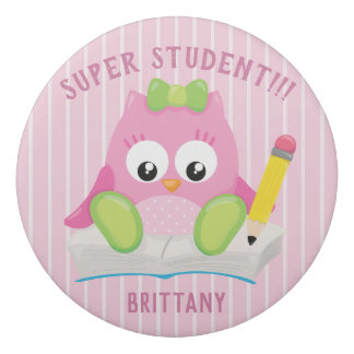 Pretty Pink Owl with Stripes Eraser
