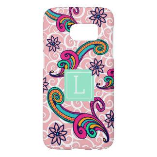 Pretty Pink Paisley Floral Monogram Samsung Galaxy S7 Case