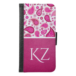 Pretty Pink Paisley & Leather w/Monogram Samsung Galaxy S6 Wallet Case