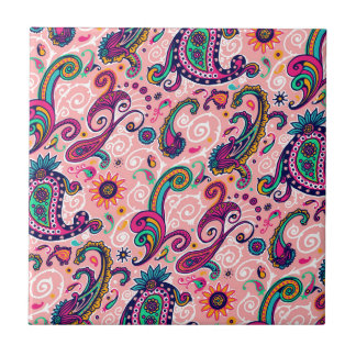 Pretty Pink Paisley Pattern Ceramic Tiles