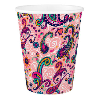 Pretty Pink Paisley Pattern Paper Cup