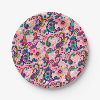 Pretty Pink Paisley Pattern Paper Plate