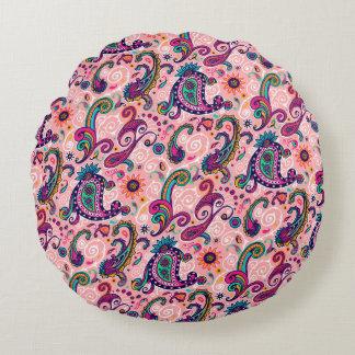 Pretty Pink Paisley Pattern Round Pillow