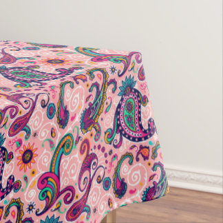 Pretty Pink Paisley Pattern Tablecloth