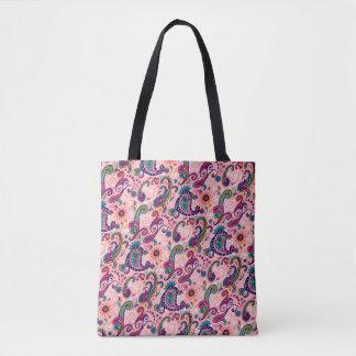 Pretty Pink Paisley Pattern Tote Bag