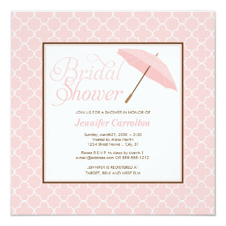 Pretty Pink Parasol Bridal Shower Invitation
