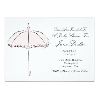 Pretty Pink Parasol Shower Invitation