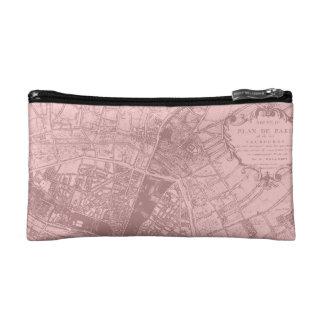 Pretty Pink Paris Map Cosmetic Bag