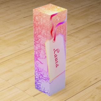Pretty Pink Pastel winter trees design Wine Gift Box