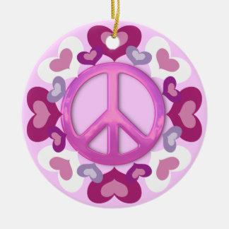 Pretty Pink Peace Sign and Hearts Ornament