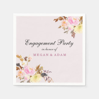 Pretty Pink Peach Floral Cute Engagement Party Disposable Napkin