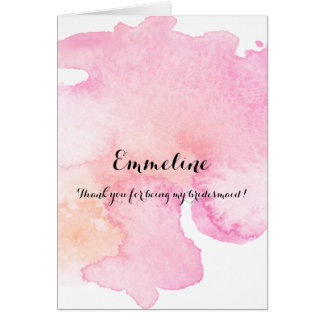 Pretty Pink Peach Watercolor Thank you bridesmaid Card