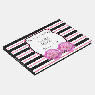Pretty Pink Peony Flower Personalized Wedding Guest Book