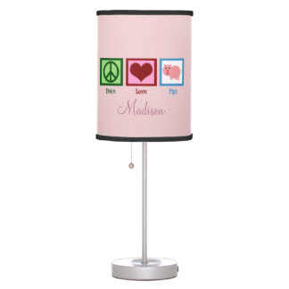 Pretty Pink Pig Personalized Table Lamp