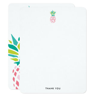 Pretty Pink Pineapples Thank You Notes Card