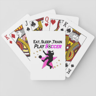 PRETTY PINK PLAYING SOCCER DESIGN PLAYING CARDS