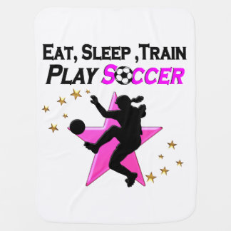 PRETTY PINK PLAYING SOCCER DESIGN RECEIVING BLANKET