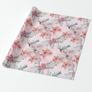 Pretty Pink Poinsettia Flowers Wrapping Paper