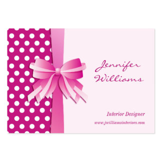 Pretty Pink Polka Dots and Bow Interior Designer Business Card