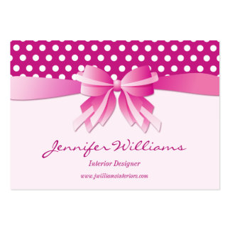 Pretty Pink Polka Dots and Bow Interior Designer Business Card Template