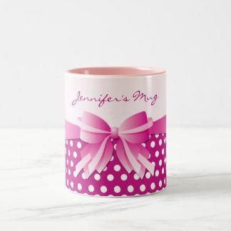 Pretty Pink Polka Dots and Ribbon Bow Custom Mug