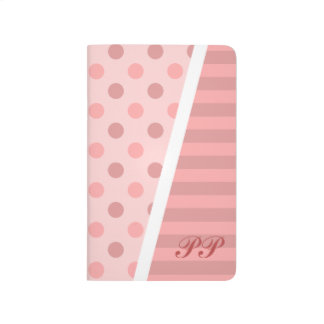 Pretty Pink Polka Dots and Stripes w/ Monogram Journal