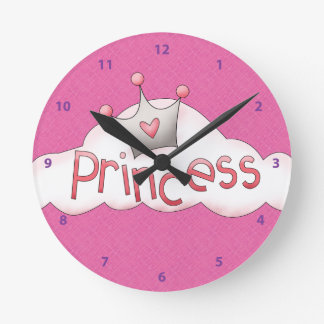 Pretty Pink Princess & Crown on Cloud Wall Clock