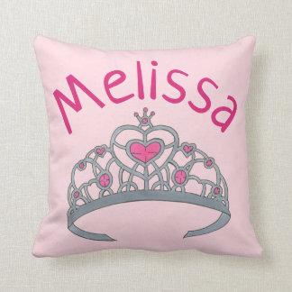 Pretty Pink Princess Tiara Crown Personalized Throw Pillow