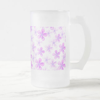 Pretty Pink & Purple Daisies Frosted Glass Mug