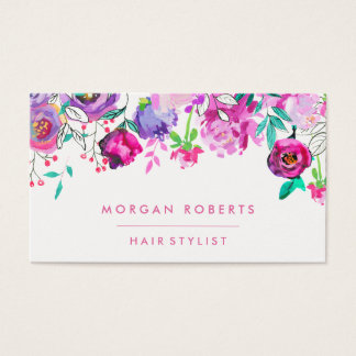 Pretty Pink Purple Mint Floral Watercolor Business Card