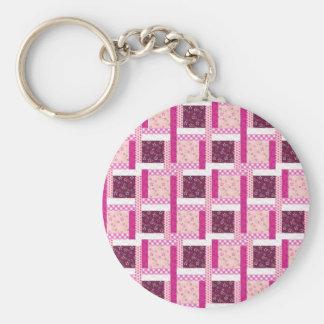 Pretty Pink Purple Patchwork Quilt Design Gifts Basic Round Button Keychain