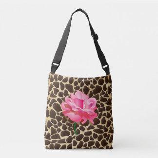 Pretty Pink Rose Brown & Gold Animal Print Crossbody Bag