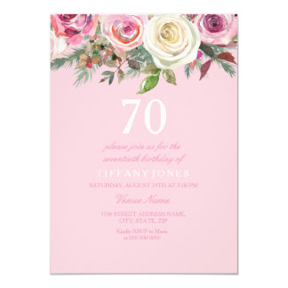 Pretty Pink Rose Floral 70th Birthday Invite