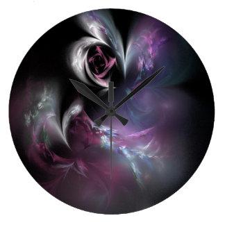 Pretty Pink Rose Fractal Large Clock