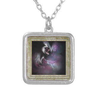 Pretty Pink Rose Fractal Silver Plated Necklace