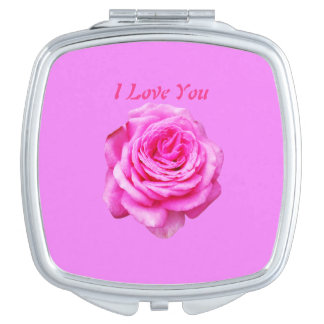 Pretty Pink Rose, I Love You Logo, Travel Mirror