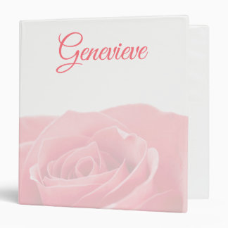 Pretty Pink Rose Personalized with Name Binder