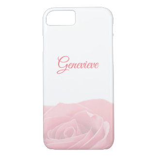 Pretty Pink Rose Personalized with Name Phone Case