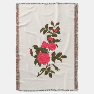 Pretty Pink Rose Spray Throw Blanket