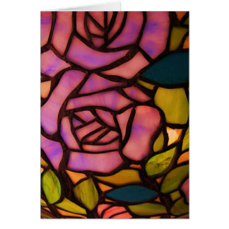 Pretty Pink Rose Stained Glass Greeting Note Card