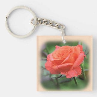 Pretty Pink Rose with Raindrops Keychain