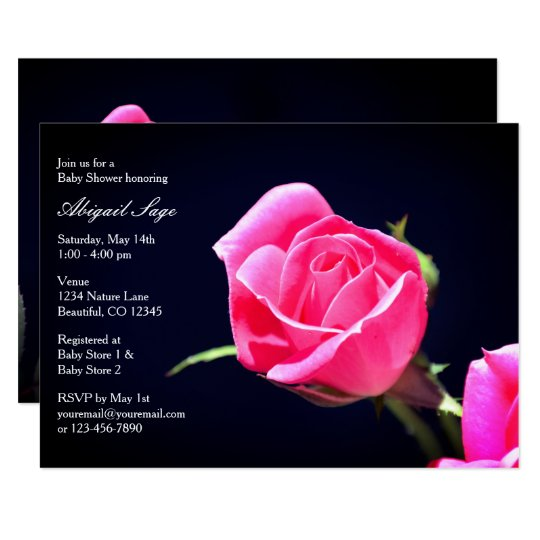 Pretty Pink Rosebud Baby Shower Invitation ~ Girls