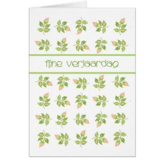 Pretty Pink Rosebuds Dutch Greeting Birthday Card