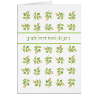 Pretty Pink Rosebuds Norwegian Language Birthday Card