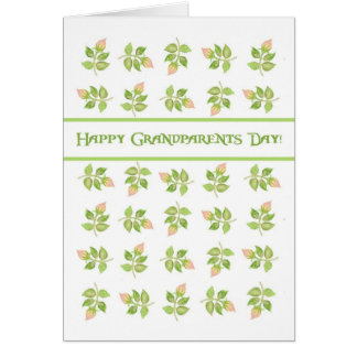 Pretty Pink Rosebuds on White Grandparents Day Card