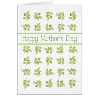 Pretty Pink Rosebuds on White Mother's Day Card