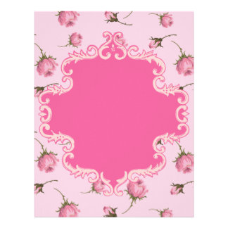 Pretty Pink Rosebuds Swirls Frame Scrapbook Paper
